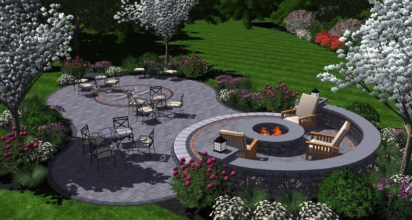 3D landscape design of a patio and outdoor living area