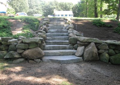 Boulder wall and stairs