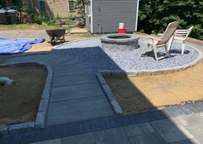 patio, walkway and fire pit in Jefferson MA