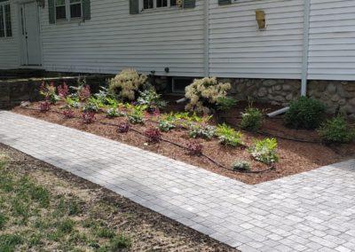 landscape plantings inside a walkway in Shrewsbury MA