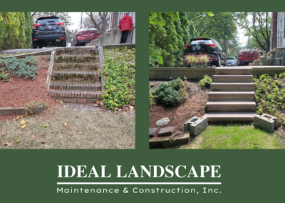 Before and After photos Granite and concrete block stairs and retaining wall in Worcester by Ideal landscape
