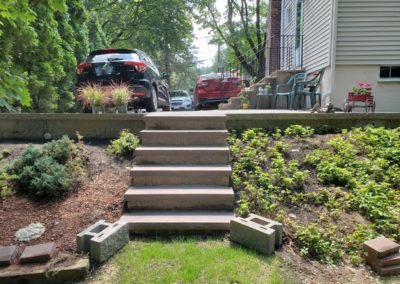 Granite and concrete block stairs in Worcester Massachusetts