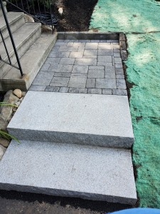 Granite steps and paver landing Holden MA- Ideal Landscape