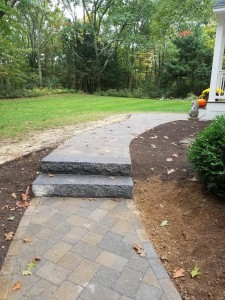 Granite steps and paver walkways Holden MA Ideal Landscape