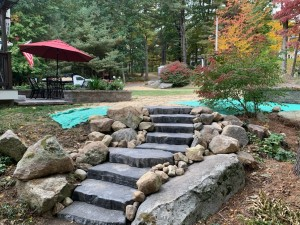 Paver stone steps- Jefferson MA- Ideal Landscape