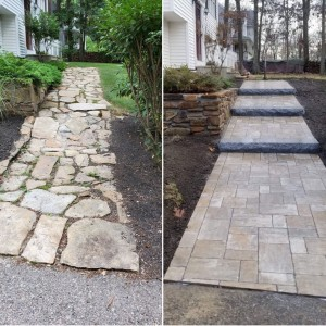 Walkway- Unilock pavers- before and after- Millbury MA Ideal Landscaping