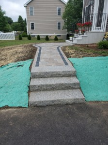 walkways and granite steps- Ideal Landscape